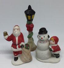 VTG Lot Of 3 Christmas Village Accessories Lamp Post Santa Clause Snow Kid