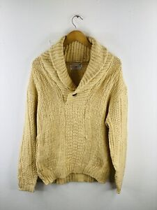 Brentwood Sportswear Men's Vintage Aran Cable Knit Pullover Jumper Size M Brown