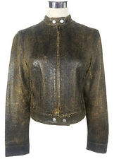 BETTINA LIANO Jacket - 90s Vintage Brown Faux Leather Snakeskin Zip Motorcycle 8