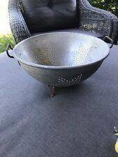 """Vintage Metal  11""""Colander Strainer Bowl 7 Star Footed Handles Primitive Canning"""