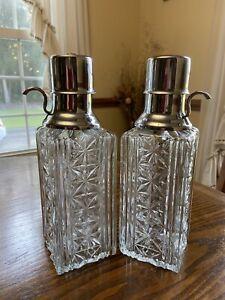Vintage Cut/Pressed Glass Liquor Decanter w/Chrome Palm Pump Dispenser/Set Of 2
