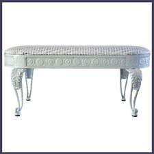 Bed End Bench Iron Frame in White Color With White Color Wicker Cushion Seat NEW