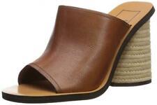 Dolce Vita Alba Jute Heel Brown Leather sandals slide mule shoes New w/ Box 6,5