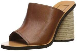 Dolce Vita Alba Jute Heel Brown Leather sandals slide mule shoes NIB 6,5 M US