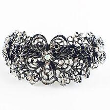 USA BARRETTE Rhinestone Crystal Hairpin Claw Clip Metal Vintage Elegant Silver 1