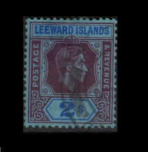 leeward islands stamp - george vi - 2 shilling purple and blue - good used sg111