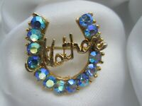 Vintage Faceted Aurora Borealis Blue Glass Gold Tone Horseshoe Mother Brooch Pin