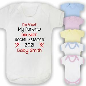 Personalised Social Distance Funny Printed Baby Vest Gift Lockdown New Arrival