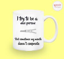 ZIP MOUTH SARCASM WORK MUG funny novelty tea coffee gift women men office easter