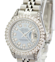 Ladies Rolex Datejust 26mm Blue MOP  Diamond Dial Diamond Bezel 1.90CTW-Quickset