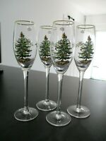 Spode Christmas Tree Champagne Flutes Gold Trim Set Of 4 New In Box