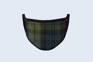 Clan Campbell Tartan Face Mask Scottish Plaid Covering Blue Green Polyester Mask