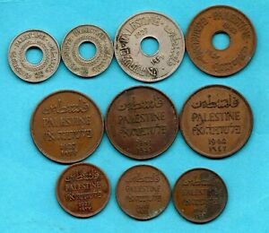 10 OLD PALESTINE COINS 1927 - 1942. JOB LOT.