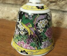 Vintage floral phoenix Bird porcelain bell, Japan multi color