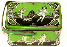 Children Playing Dog Lunch Box Biscuit Tin 1920s