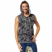 Zumba Men's Surged Sleeveless Hoodie, Grey Scarlet, Large