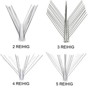 AtHaus® Taubenabwehr Taubenspikes EDELSTAHL 2 bis 5 Reihig Taubenschreck Vogel