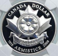 2008 CANADA WWI 1918 World War I Armistice POPPY Proof SILVER $ Coin NGC i87848