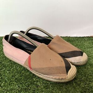 Burberry Hodgeson Check Print Espadrille Flat Shoes Size 39