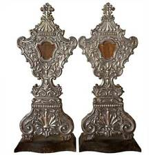 Pair of Large Antique Indo-Portuguese Silver Mounted Reliquaries 19th century