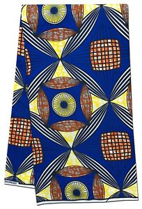 African Fabric Blue Yellow Orange Wax Print Sewing Crafts Quilting Per Yard