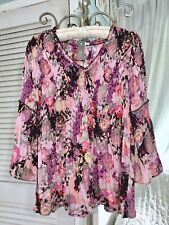 NEW ~ S Pink Black Floral Spense Smocked Peasant Boho Top Shirt Blouse