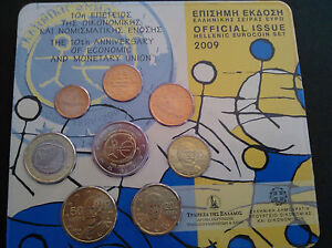Greece  Greek Blister official issue 2009 Grece BU set KMS 1 cent to 2 Euro EMU