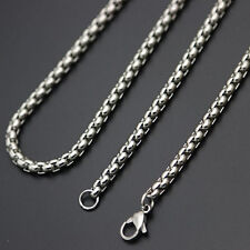 """Mens 316L Stainless Steel Silver Box Link Chain Necklace 23.5"""" Long -New UK 241"""