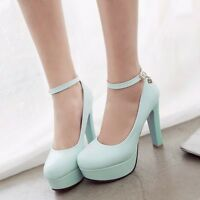 Ankle Strap Women Round Toe Platform High Block Heel Mary Jane Pumps Court Shoes
