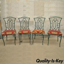 4 Vintage Hollywood Regency Faux Bamboo Cast Aluminium Patio Dining Side Chairs