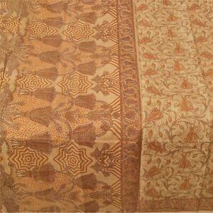 Sanskriti Vintage Brown Indian Sarees 100% Pure Silk Printed Sari Craft Fabric