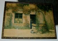 Vintage 1930-40's Wishing Water Well Cottage Flowers  Print Wooden Frame