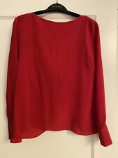 Club Monaco Red Silk Blouse With Droped Back, XS
