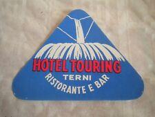 Vintage Luggage label Hotel Touring Terni Italy 1950s