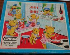Victory Hand Cut Wood Jigsaw 20 Piece Wooden Puzzle - Teddies Kitchen 1979