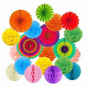 19Pcs Tissue Paper Fan Flowers Pom Pom Honeycomb Ball Set Wedding Party Decor UK