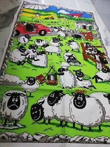 Vintage Unused Tea Towel Cute Cartoon Sheep