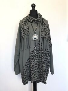 New MADE IN ITALY LAGENLOOK Olive Leopard Pattern Panel Tunic + Scarf - UK 16 18