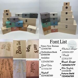 Large Engraved Square Wooden Boxes Personalised Small Wood Keepsake Gift Box