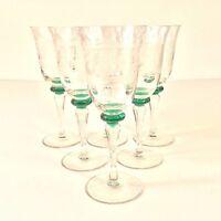 """SET 6 ETCHED FIGURES CLEAR GLASS GREEN KNOB STEM GOBLETS XL WINE GLASSES VTG 8""""H"""