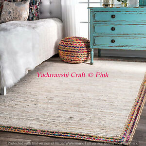 Indian Home Decorative Braided Bohemian Natural Jute & Cotton Mat Weave Rag Rugs