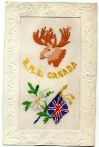 "NAVAL EMBROIDERED SILK POSTCARD "" H.M.S. CANADA "" G & P. LTD VINTAGE 1914-1918"