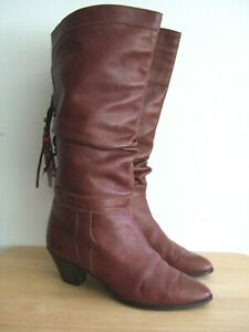 Vintage brown leather slouch western cowboy boots size UK 6