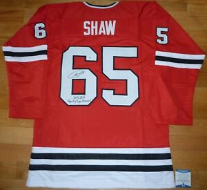 BECKETT ANDREW SHAW CUP INSCRIBED SIGNED GENERIC RED CHICAGO JERSEY WD99867 XL