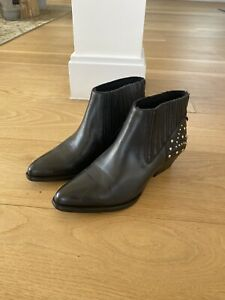 Hudson black Leather ankle boots size 6