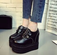 New Womens Platform High Wedge Heel Sneakers Creeper Shoes Buckle Korean England