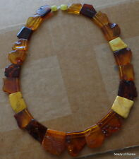 Antique Natural Baltic Amber  multicolor choker Beads Necklace