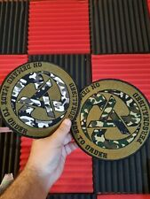 More details for personalised big 17cm anarchy sew on airsoft logo badge embroidered patch biker