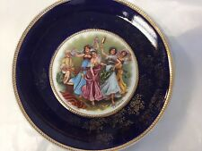 """LARGE ANTIQUE WALL PLATE ORIENTAL DANCERS A H SCHRAM  11"""" HAND PAINTED"""