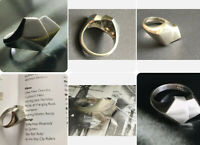 1976 London MW maker Silver Modernist Heart Design Statement Ring Sz Q1/2